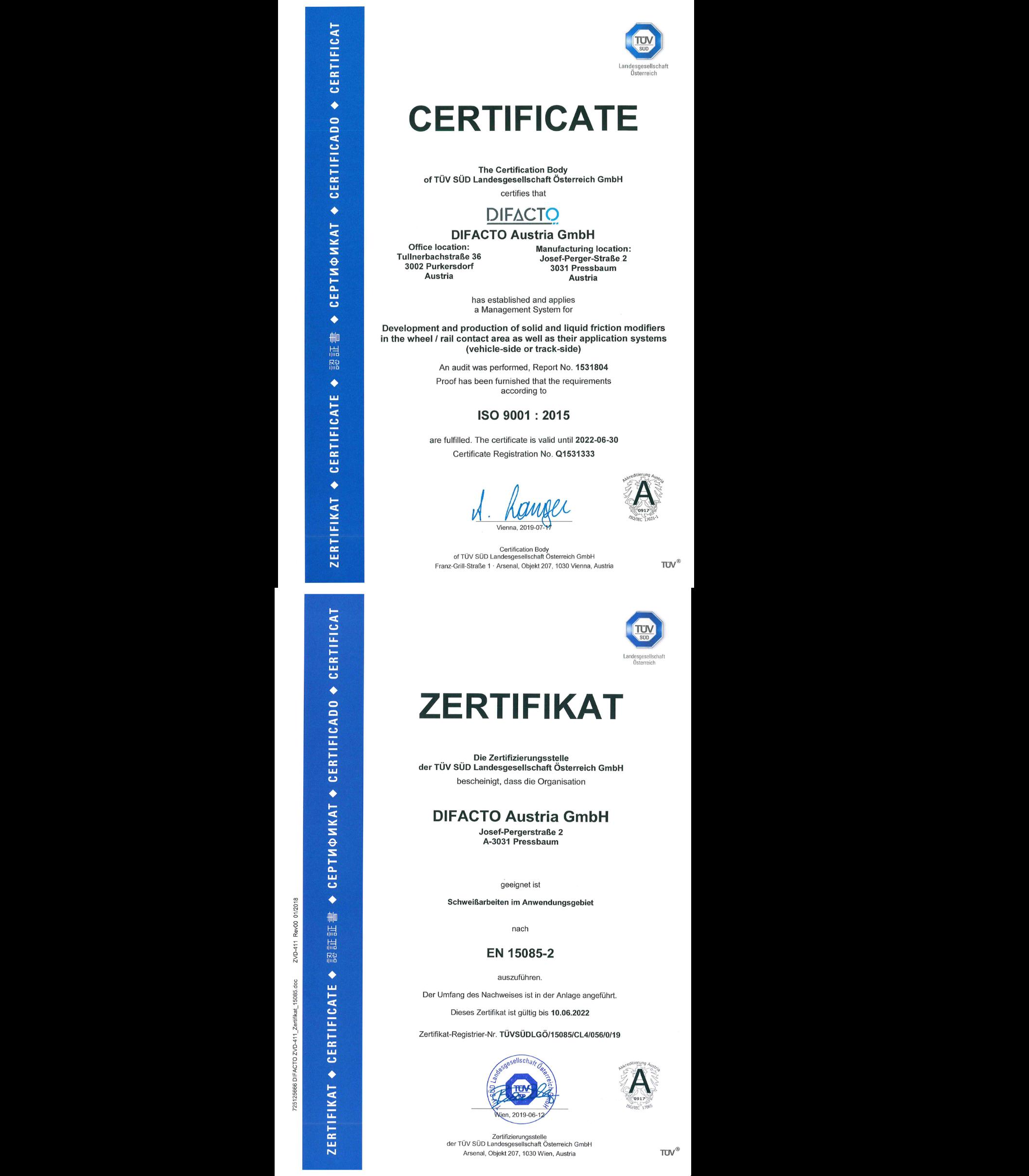 ISO9001:2015 EN15085-2
