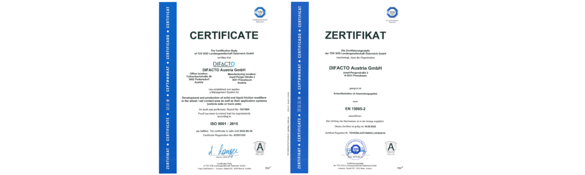 ISO9001:2015 and EN 15085-2